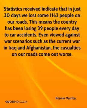 Statistics received indicate that in just 30 days we lost some 1162 people on our roads. This means the country has been losing 39 people every day to car accidents. Even viewed against war scenarios such as the current war in Iraq and Afghanistan, the casualties on our roads come out worse.