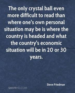 The only crystal ball even more difficult to read than where one's own personal situation may be is where the country is headed and what the country's economic situation will be in 20 or 30 years.