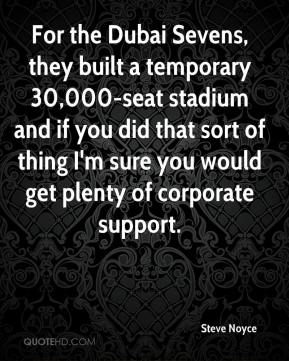 Steve Noyce  - For the Dubai Sevens, they built a temporary 30,000-seat stadium and if you did that sort of thing I'm sure you would get plenty of corporate support.