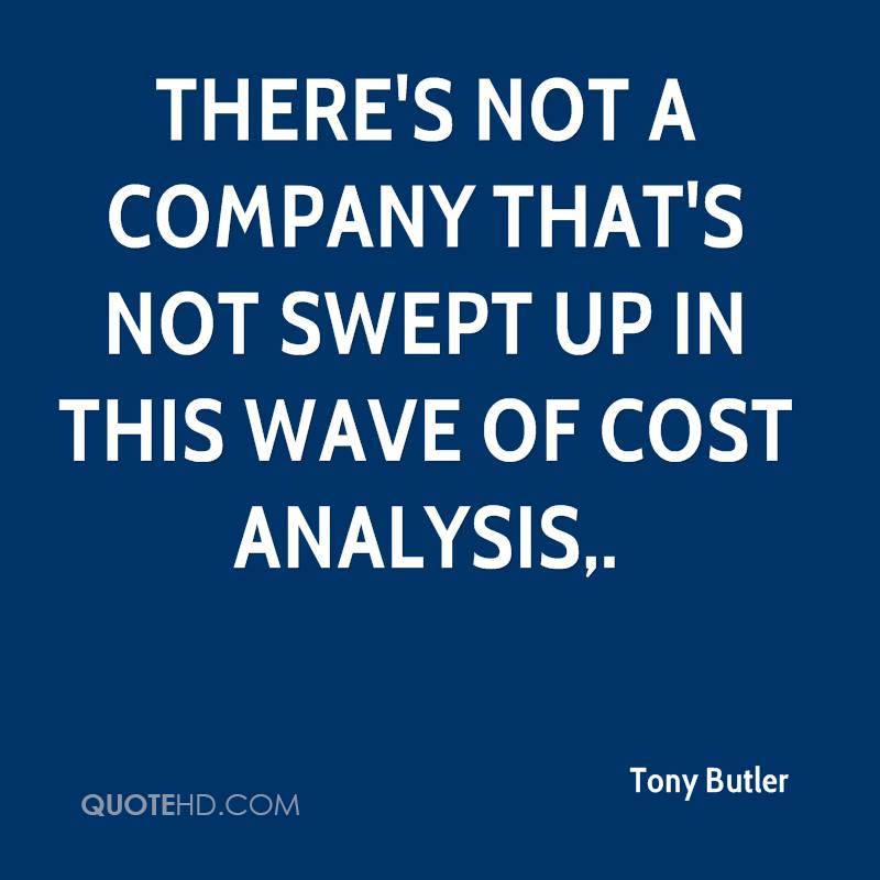 There's not a company that's not swept up in this wave of cost analysis.