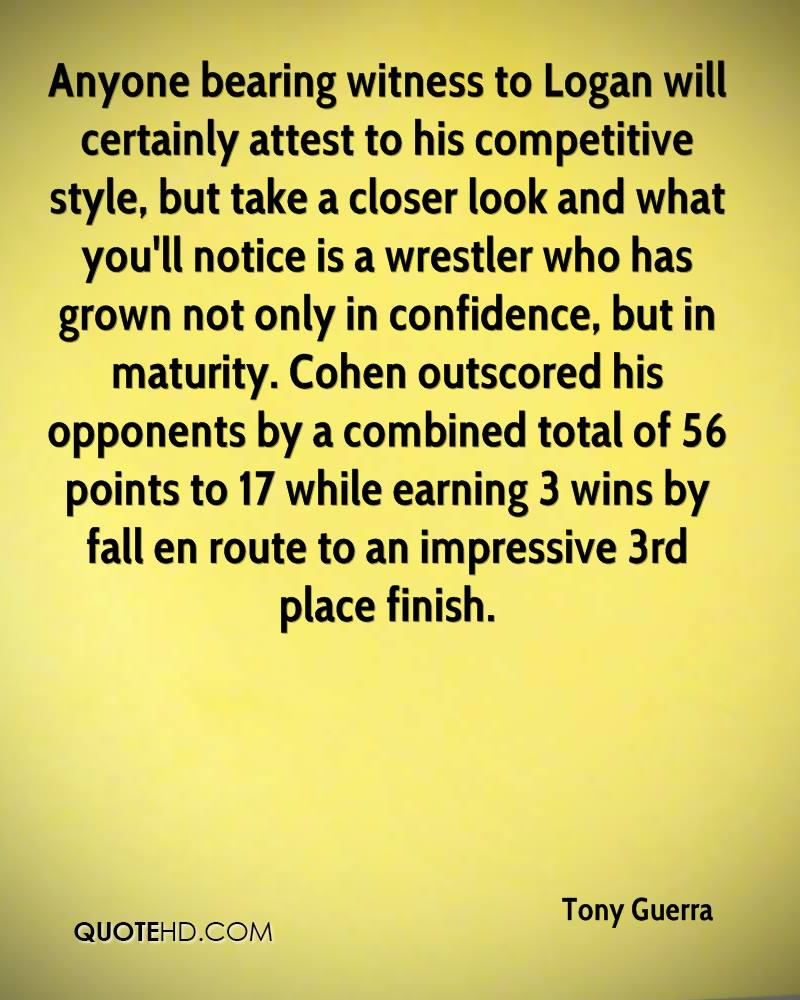 Anyone bearing witness to Logan will certainly attest to his competitive style, but take a closer look and what you'll notice is a wrestler who has grown not only in confidence, but in maturity. Cohen outscored his opponents by a combined total of 56 points to 17 while earning 3 wins by fall en route to an impressive 3rd place finish.