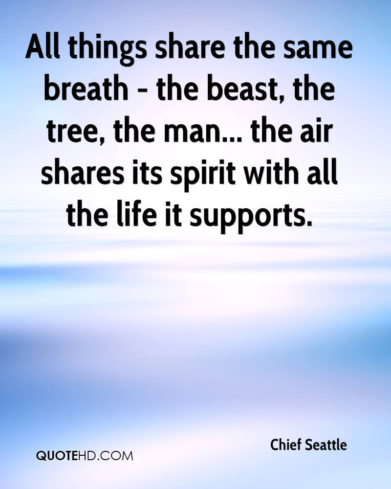All things share the same breath - the beast, the tree, the man... the air shares its spirit with all the life it supports.