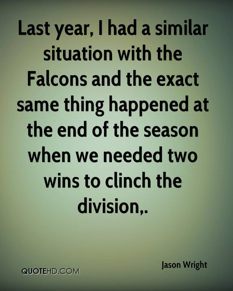 Last year, I had a similar situation with the Falcons and the exact same thing happened at the end of the season when we needed two wins to clinch the division.