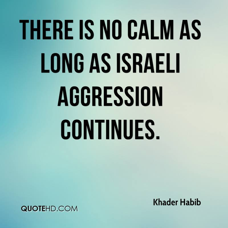 There is no calm as long as Israeli aggression continues.