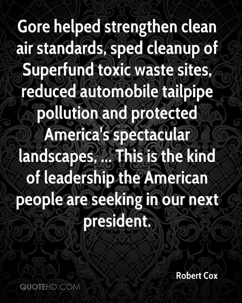Gore helped strengthen clean air standards, sped cleanup of Superfund toxic waste sites, reduced automobile tailpipe pollution and protected America's spectacular landscapes, ... This is the kind of leadership the American people are seeking in our next president.