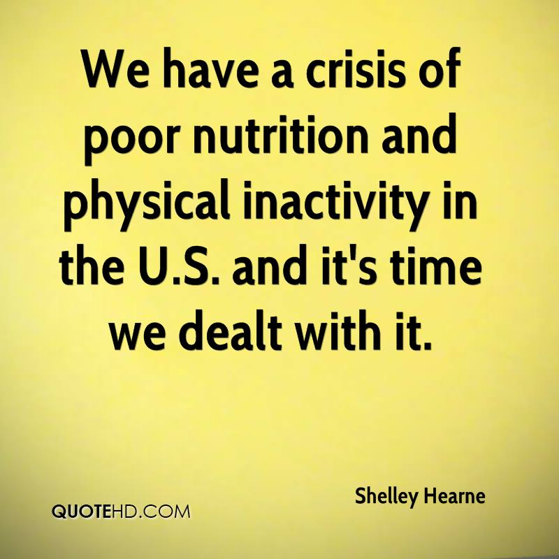 We have a crisis of poor nutrition and physical inactivity in the U.S. and it's time we dealt with it.