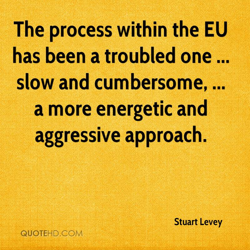 The process within the EU has been a troubled one ... slow and cumbersome, ... a more energetic and aggressive approach.
