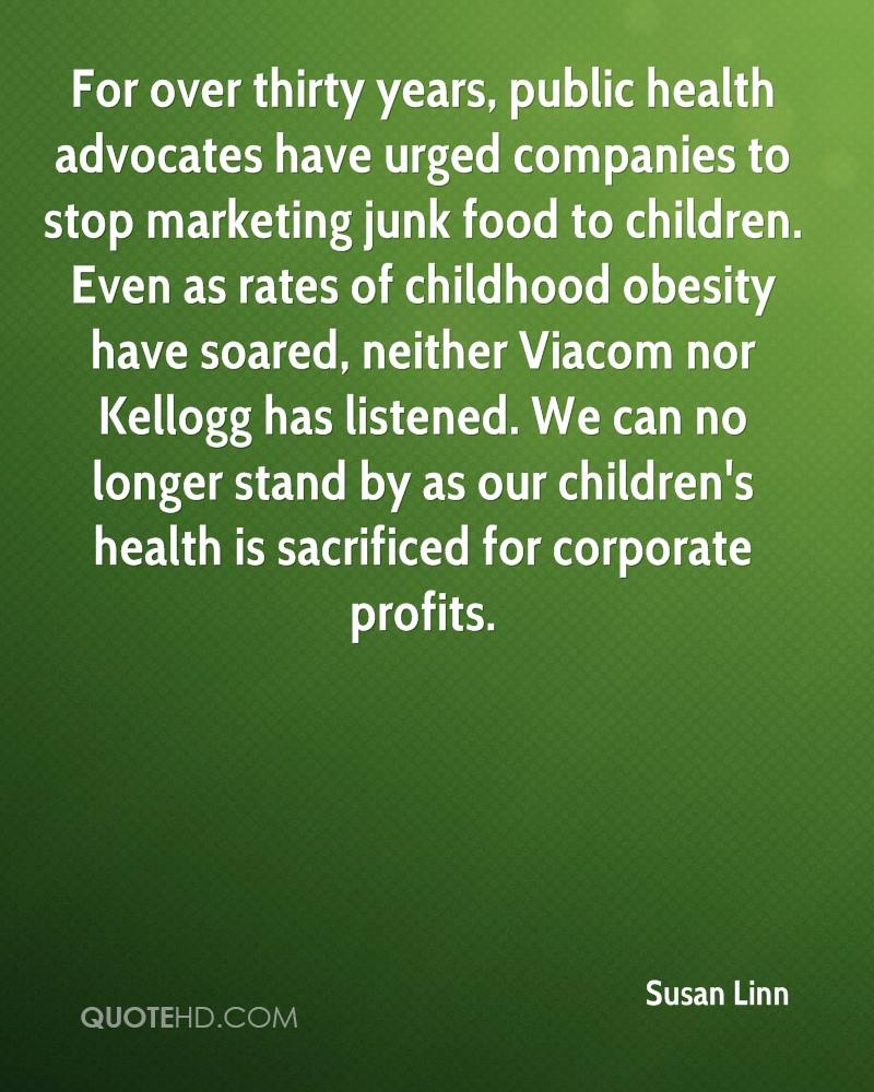 For over thirty years, public health advocates have urged companies to stop marketing junk food to children. Even as rates of childhood obesity have soared, neither Viacom nor Kellogg has listened. We can no longer stand by as our children's health is sacrificed for corporate profits.
