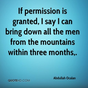 If permission is granted, I say I can bring down all the men from the mountains within three months.