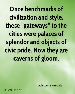 "Once benchmarks of civilization and style, these ""gateways"" to the cities were palaces of splendor and objects of civic pride. Now they are caverns of gloom."
