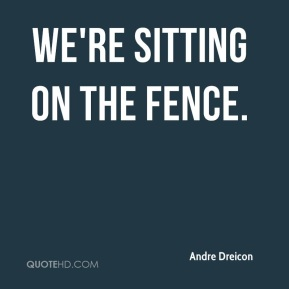 Andre Dreicon - We're sitting on the fence.