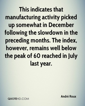 André Roux - This indicates that manufacturing activity picked up somewhat in December following the slowdown in the preceding months. The index, however, remains well below the peak of 60 reached in July last year.