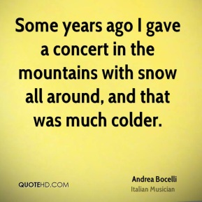 Some years ago I gave a concert in the mountains with snow all around, and that was much colder.
