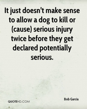 Bob Garcia - It just doesn't make sense to allow a dog to kill or (cause) serious injury twice before they get declared potentially serious.
