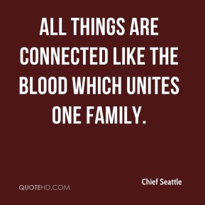 Chief Seattle - all things are connected like the blood which unites one family.