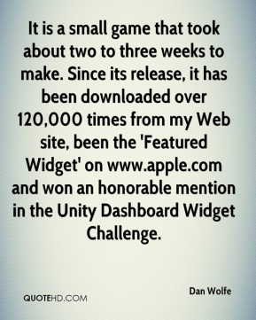 Dan Wolfe - It is a small game that took about two to three weeks to make. Since its release, it has been downloaded over 120,000 times from my Web site, been the 'Featured Widget' on www.apple.com and won an honorable mention in the Unity Dashboard Widget Challenge.