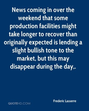 News coming in over the weekend that some production facilities might take longer to recover than originally expected is lending a slight bullish tone to the market, but this may disappear during the day.