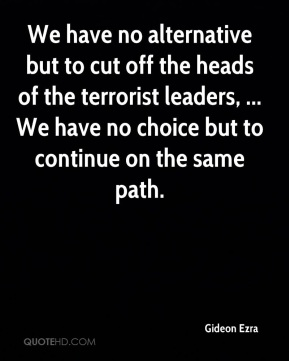 We have no alternative but to cut off the heads of the terrorist leaders, ... We have no choice but to continue on the same path.