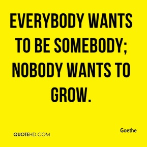 Goethe - Everybody wants to be somebody; nobody wants to grow.