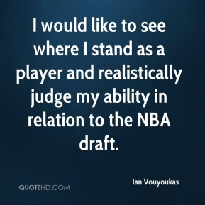 Ian Vouyoukas - I would like to see where I stand as a player and realistically judge my ability in relation to the NBA draft.