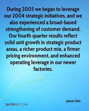 James Kim - During 2005 we began to leverage our 2004 strategic initiatives, and we also experienced a broad-based strengthening of customer demand. Our fourth quarter results reflect solid unit growth in strategic product areas, a richer product mix, a firmer pricing environment, and enhanced operating leverage in our newer factories.