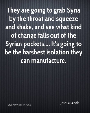Joshua Landis  - They are going to grab Syria by the throat and squeeze and shake, and see what kind of change falls out of the Syrian pockets.... It's going to be the harshest isolation they can manufacture.