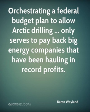 Karen Wayland  - Orchestrating a federal budget plan to allow Arctic drilling ... only serves to pay back big energy companies that have been hauling in record profits.