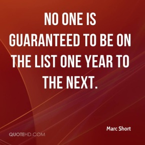 Marc Short  - No one is guaranteed to be on the list one year to the next.