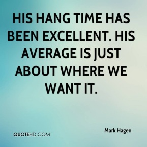 Mark Hagen  - His hang time has been excellent. His average is just about where we want it.