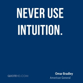 Never use intuition.