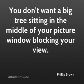 Phillip Brown  - You don't want a big tree sitting in the middle of your picture window blocking your view.
