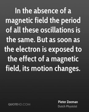 In the absence of a magnetic field the period of all these oscillations is the same. But as soon as the electron is exposed to the effect of a magnetic field, its motion changes.