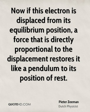 Pieter Zeeman - Now if this electron is displaced from its equilibrium position, a force that is directly proportional to the displacement restores it like a pendulum to its position of rest.