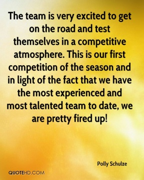 The team is very excited to get on the road and test themselves in a competitive atmosphere. This is our first competition of the season and in light of the fact that we have the most experienced and most talented team to date, we are pretty fired up!