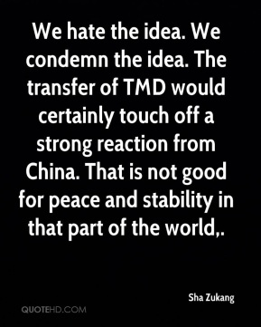 Sha Zukang  - We hate the idea. We condemn the idea. The transfer of TMD would certainly touch off a strong reaction from China. That is not good for peace and stability in that part of the world.