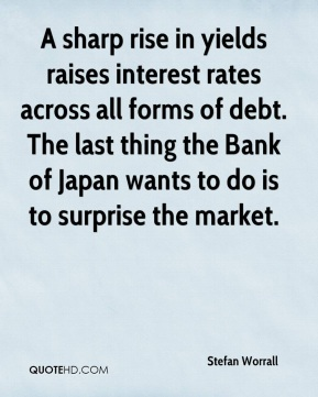 Stefan Worrall  - A sharp rise in yields raises interest rates across all forms of debt. The last thing the Bank of Japan wants to do is to surprise the market.