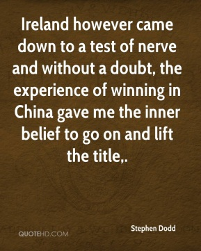 Ireland however came down to a test of nerve and without a doubt, the experience of winning in China gave me the inner belief to go on and lift the title.