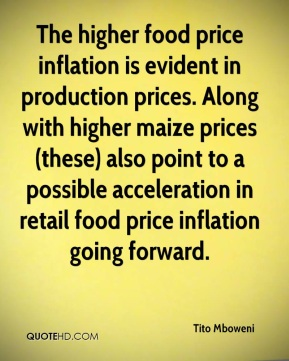 The higher food price inflation is evident in production prices. Along with higher maize prices (these) also point to a possible acceleration in retail food price inflation going forward.