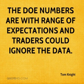Tom Knight  - The DOE numbers are with range of expectations and traders could ignore the data.