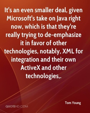 It's an even smaller deal, given Microsoft's take on Java right now, which is that they're really trying to de-emphasize it in favor of other technologies, notably, XML for integration and their own ActiveX and other technologies.
