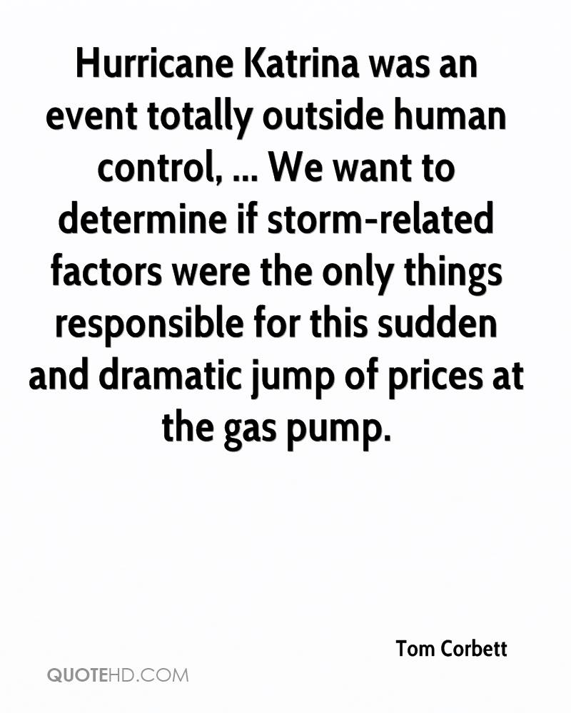 Hurricane Katrina was an event totally outside human control, ... We want to determine if storm-related factors were the only things responsible for this sudden and dramatic jump of prices at the gas pump.