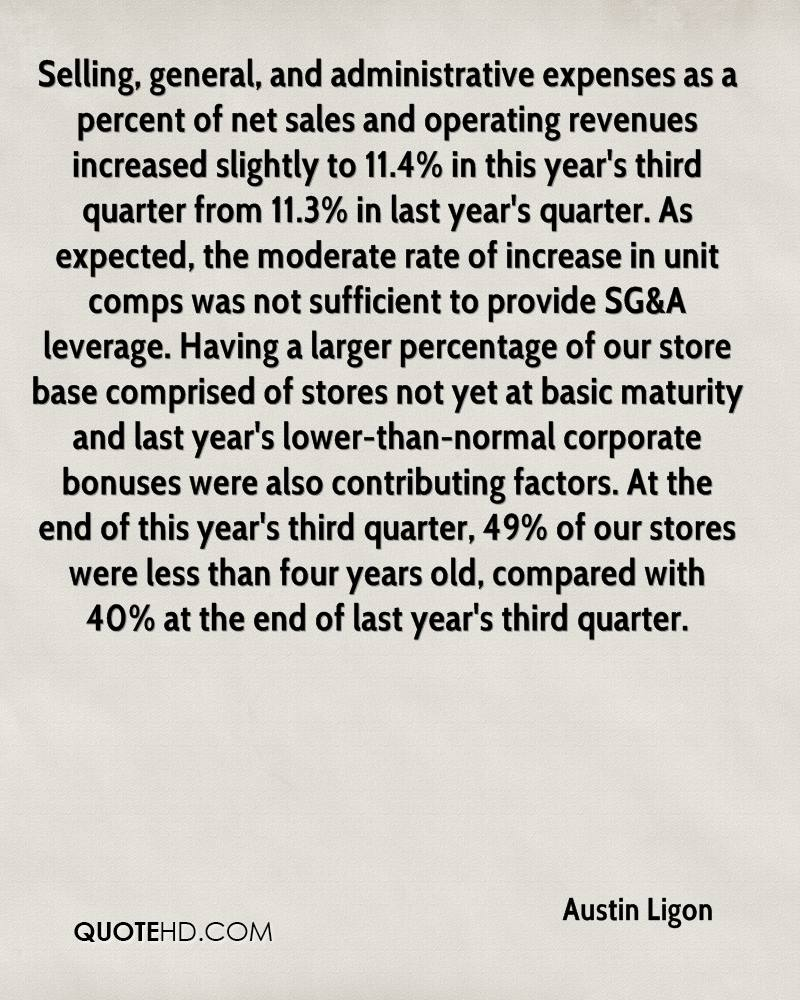 Selling, general, and administrative expenses as a percent of net sales and operating revenues increased slightly to 11.4% in this year's third quarter from 11.3% in last year's quarter. As expected, the moderate rate of increase in unit comps was not sufficient to provide SG&A leverage. Having a larger percentage of our store base comprised of stores not yet at basic maturity and last year's lower-than-normal corporate bonuses were also contributing factors. At the end of this year's third quarter, 49% of our stores were less than four years old, compared with 40% at the end of last year's third quarter.