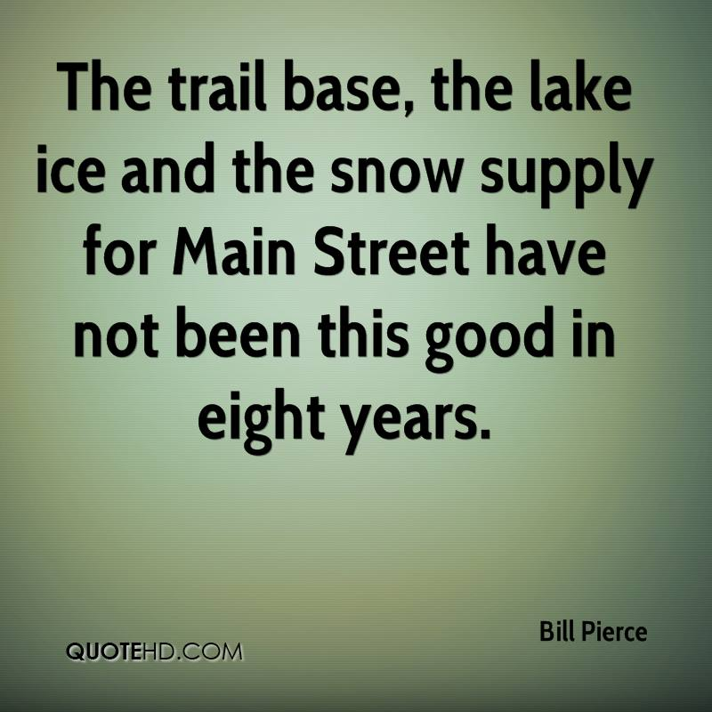 The trail base, the lake ice and the snow supply for Main Street have not been this good in eight years.