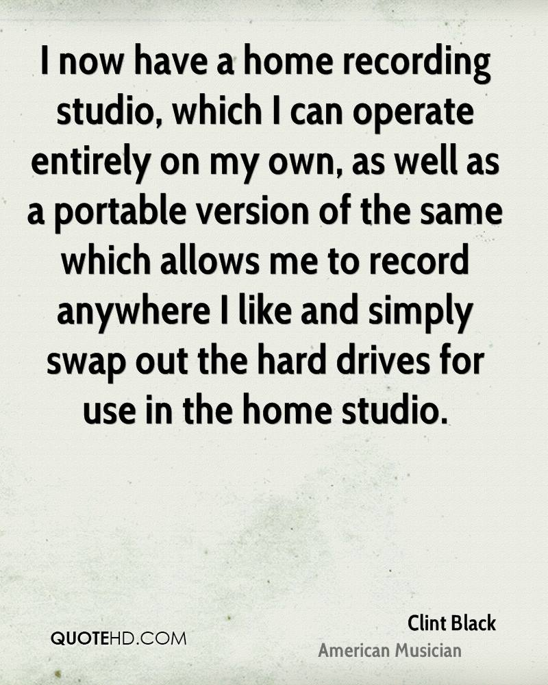 I now have a home recording studio, which I can operate entirely on my own, as well as a portable version of the same which allows me to record anywhere I like and simply swap out the hard drives for use in the home studio.