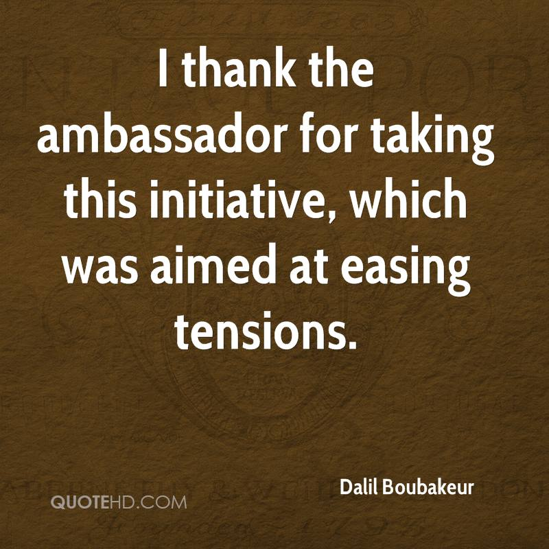 I thank the ambassador for taking this initiative, which was aimed at easing tensions.