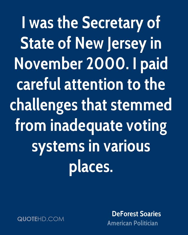 I was the Secretary of State of New Jersey in November 2000. I paid careful attention to the challenges that stemmed from inadequate voting systems in various places.
