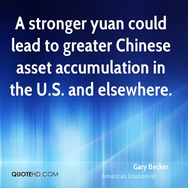 A stronger yuan could lead to greater Chinese asset accumulation in the U.S. and elsewhere.