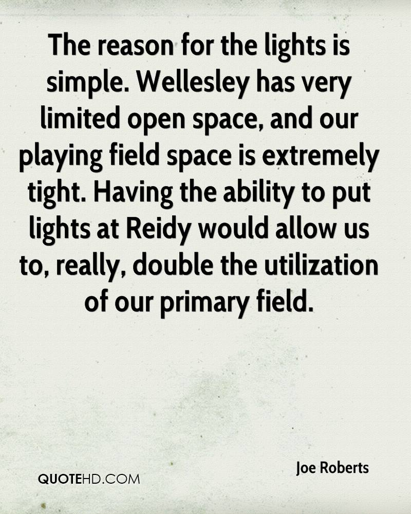The reason for the lights is simple. Wellesley has very limited open space, and our playing field space is extremely tight. Having the ability to put lights at Reidy would allow us to, really, double the utilization of our primary field.