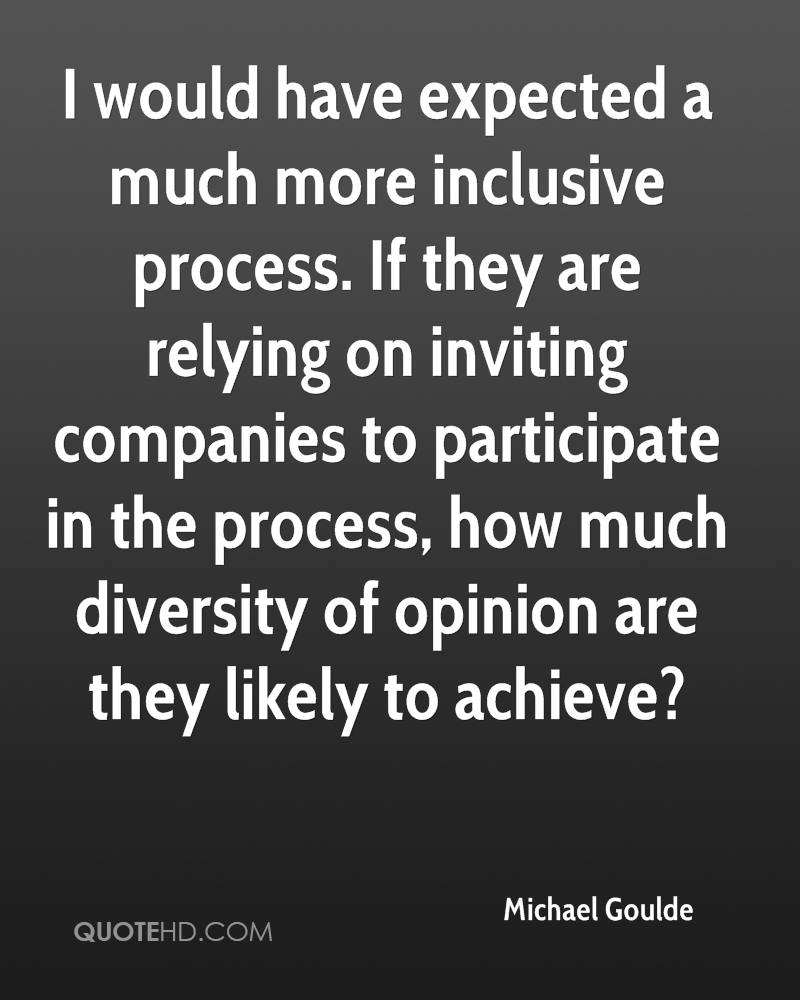 I would have expected a much more inclusive process. If they are relying on inviting companies to participate in the process, how much diversity of opinion are they likely to achieve?