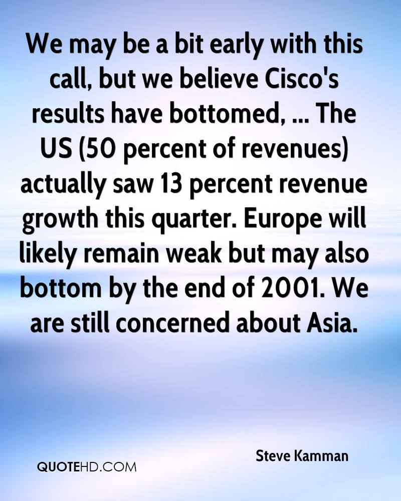 We may be a bit early with this call, but we believe Cisco's results have bottomed, ... The US (50 percent of revenues) actually saw 13 percent revenue growth this quarter. Europe will likely remain weak but may also bottom by the end of 2001. We are still concerned about Asia.